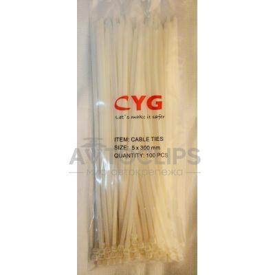 Стяжки кабельные 5х300 мм. белые