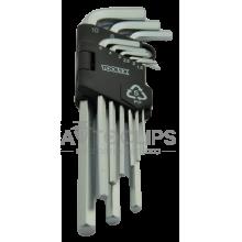 Набор шестигранных ключей Toolex удлиненных 9 шт. 1,5/2/2,5/3/4/5/6/8/10 mm.